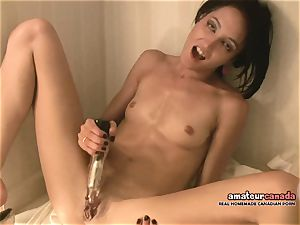 skinny French chick with little bumpers ejaculates using ben