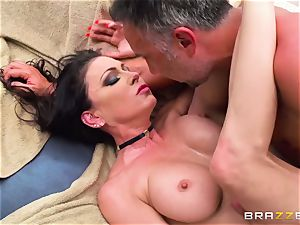 huge-chested rich female Jessica Jaymes exploits her obedient and takes his massive jizz-shotgun