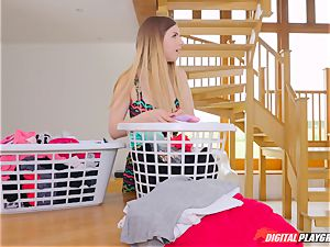 vulva massaging uber-cute Eva Lovia and Stella Cox messing in the laundry