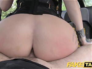 fake cab Fetish queen in dark-hued leather assfuck internal cumshot