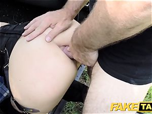 fake cab Fetish queen in dark-hued leather assfuck internal cumshot
