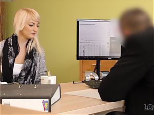 LOAN4K. Blonde-haired miss gets sissy plowed firm in loan pornography flick