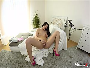 hairy big-boobed Angel Wicky on web cam
