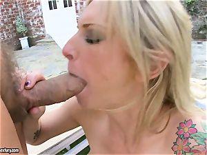 Brooke Biggs gets busted with steaming jizz on her sloppy facehole