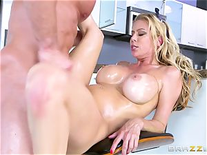 My best mate 's large huge-chested bitchy mummy Alexis Fawx takes my salami