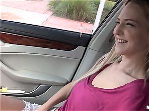 slender blond Mila Evans gets picked up to penetrate